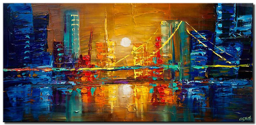 canvas print of abstract city bridge painting heavy impasto textured palette knife