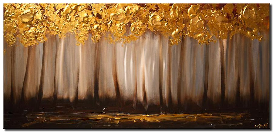 canvas print of Gold Gray trees painting forest landscape textured