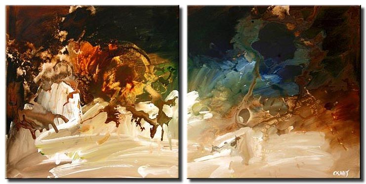 canvas print of diptych abstract painting
