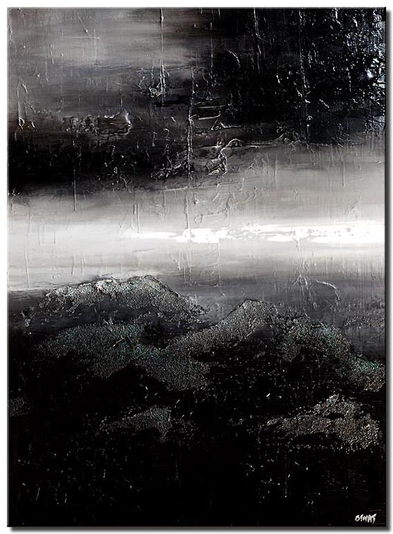 black white textured abstract storm painting
