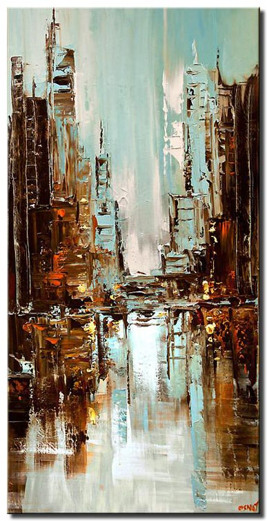 contemporary original abstract city painting light blue textured palette knife painting