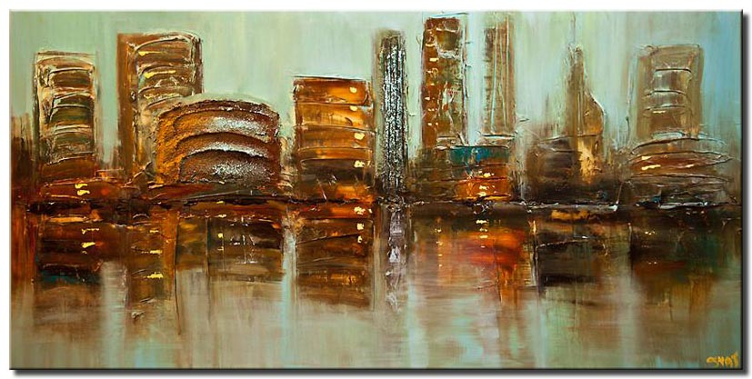 modern palette knife city abstract painting