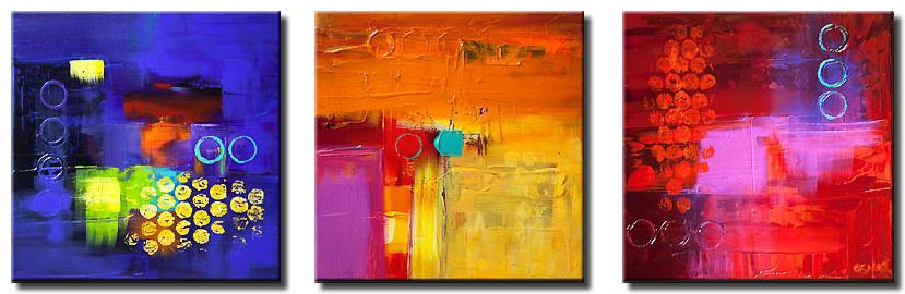 canvas print of three colorful contemporary abstract paintings