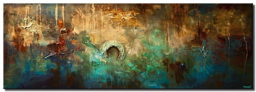 blue rust contemporary abstract painting textured
