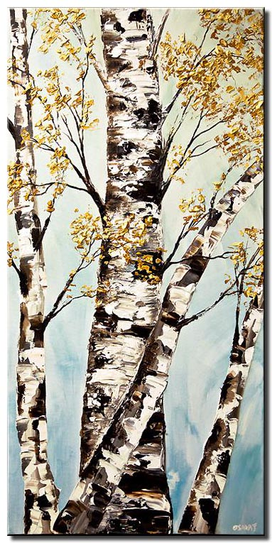 silver birch trees painting textured
