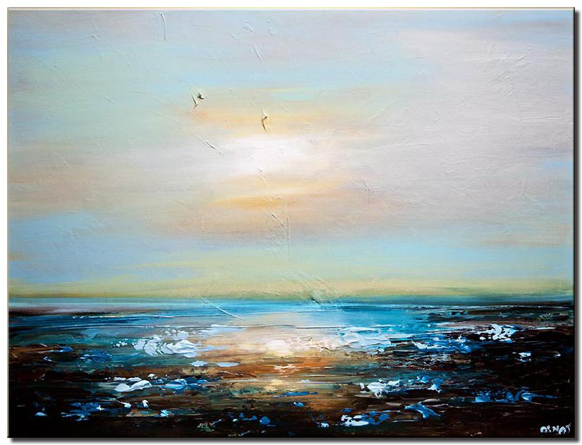 Seascape painting textured modern palette knife