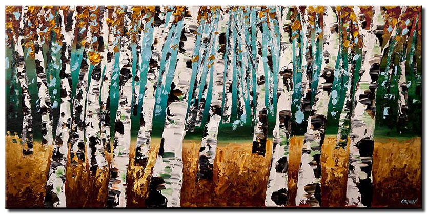silver birch trees painting modern palette knife