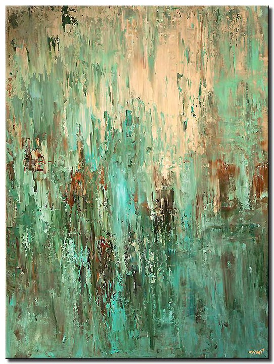 canvas print of large contemporary turquoise abstract painting modern palette knife