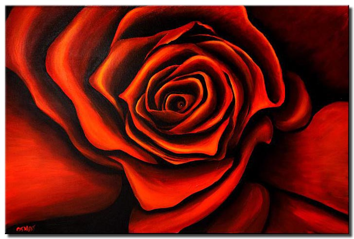 canvas print of red rose painting framed modern floral abstract