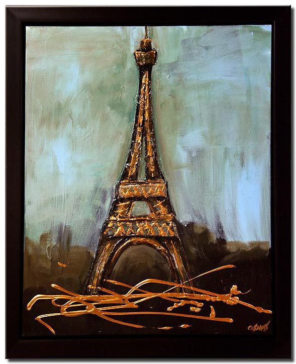 canvas print of Eiffel tower abstract painting framed