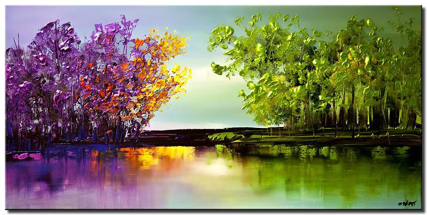 canvas print of colorful blooming trees painting modern landscape abstract painting