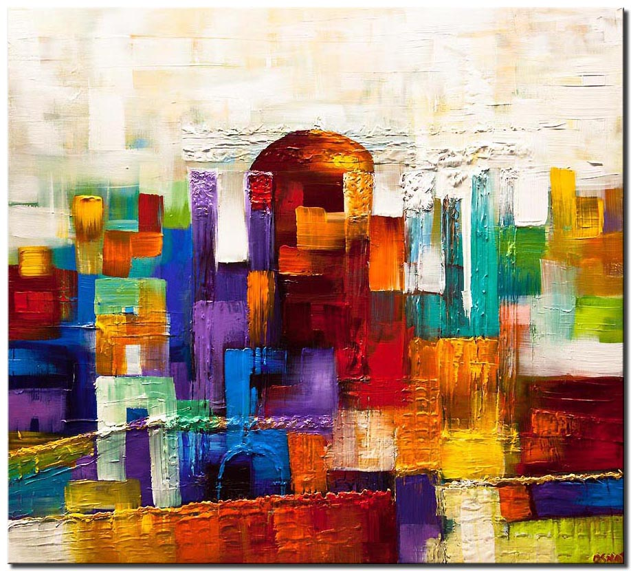 canvas print of beit hamikdash painting Jerusalem textured gold city painting
