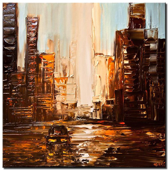 canvas print of city painting textured abstract city painting