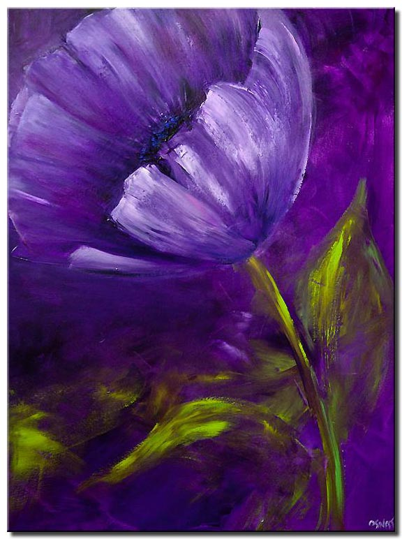 canvas print of purple flower abstract green leaves