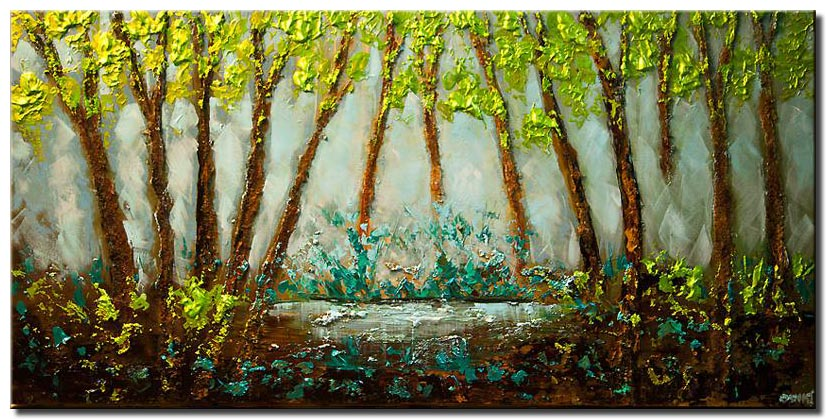 canvas print of Textured landscape abstract blooming trees green blue painting