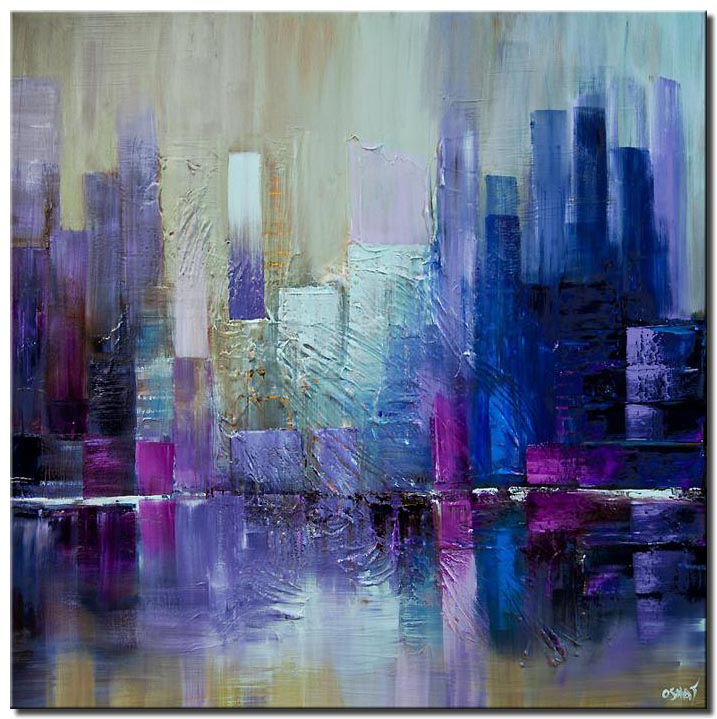 purple blue city abstract painting