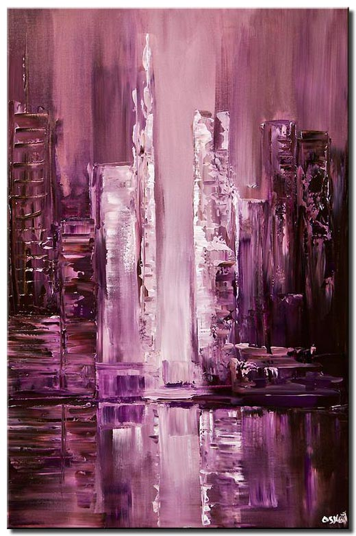 purple city abstract painting