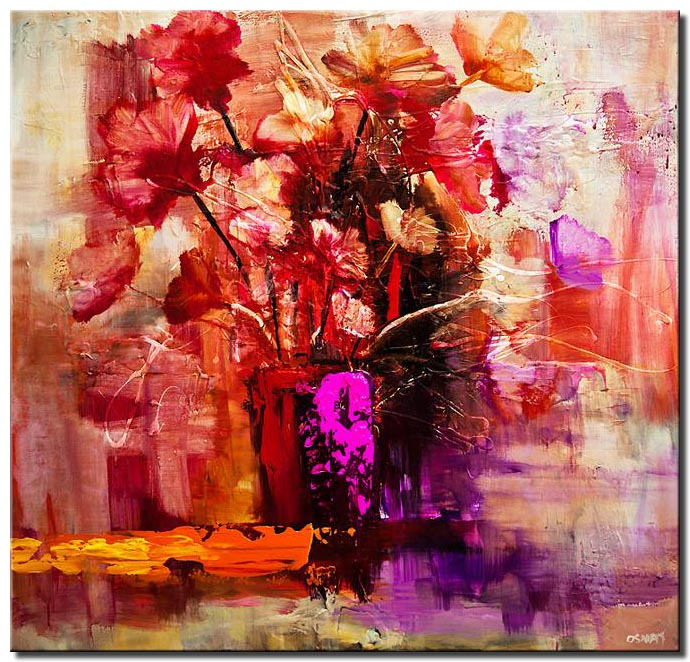 canvas print of original contemporary colorful floral abstract painting