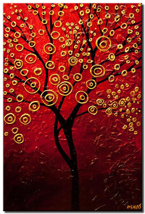 red gold tree painting