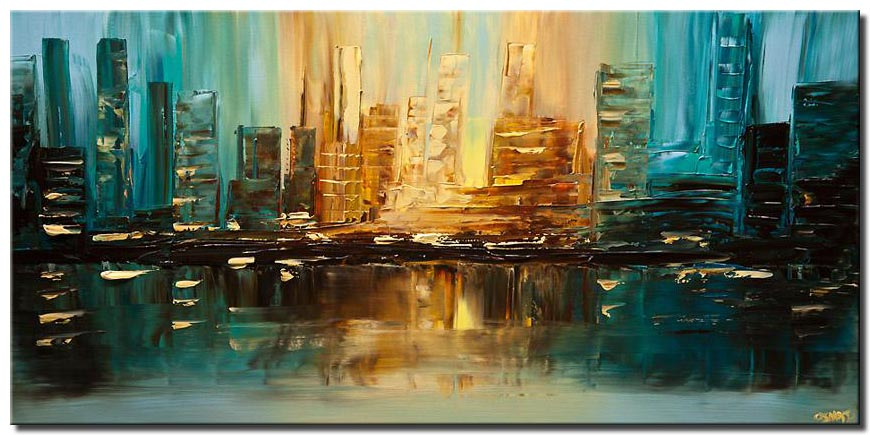 teal city abstract painting