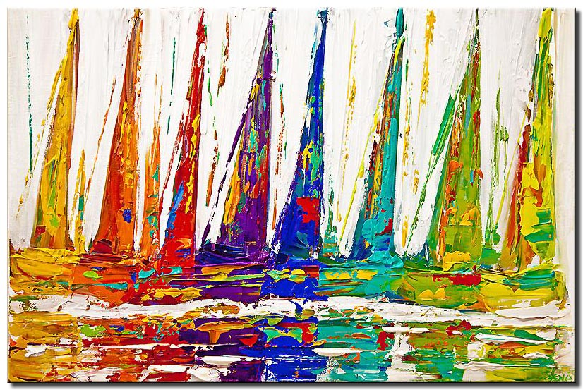 original colorful sailboats painting abstract art