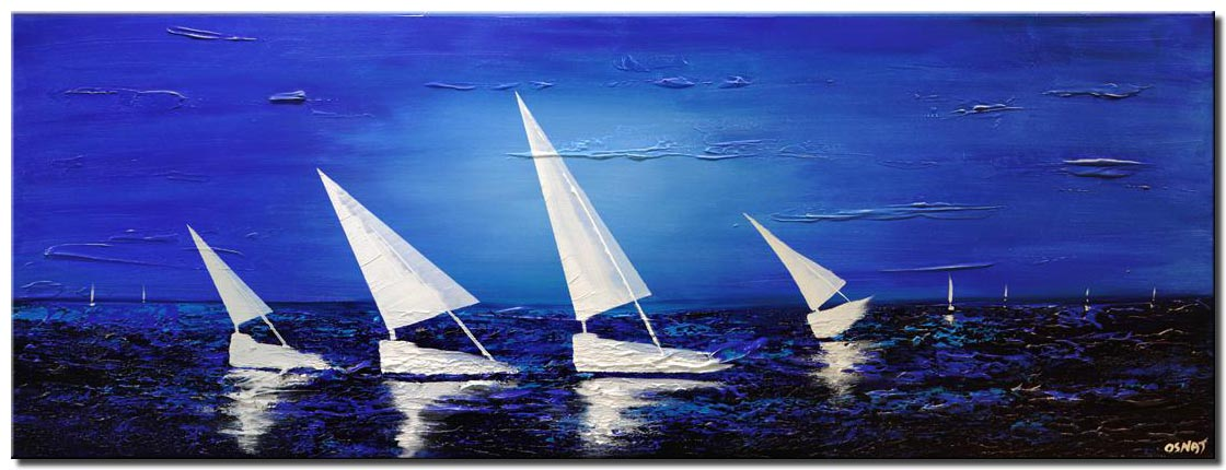 white sailboats blue sea abstract painting