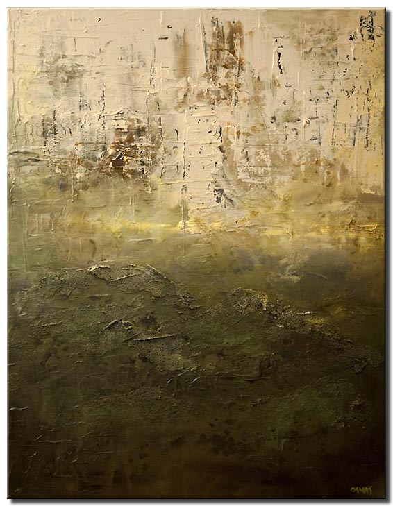canvas print of contemporary green textured abstract painting