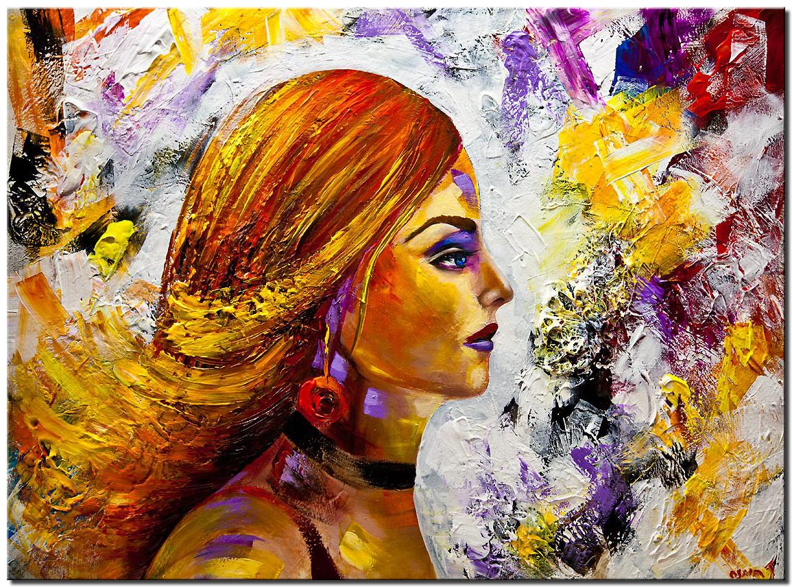 colorful woman portrait pop art textured painting