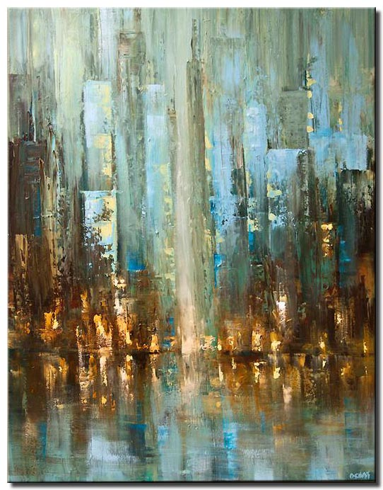 canvas print of contemporary abstract city painting textured palette knife