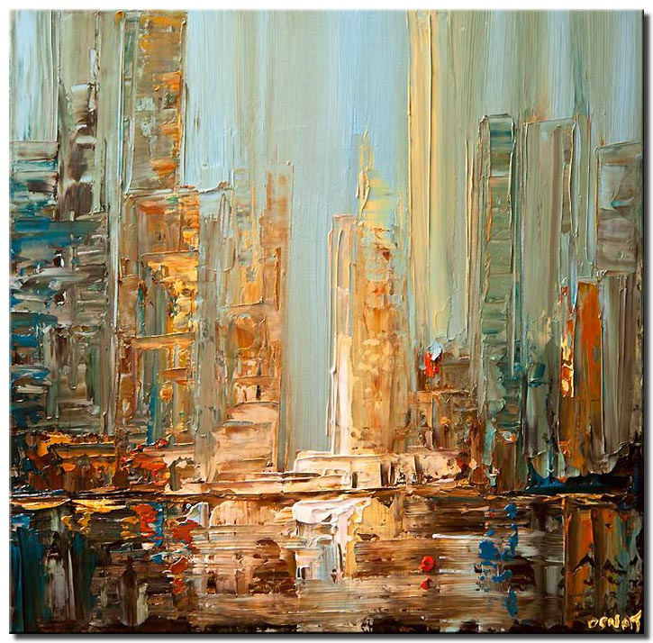 canvas print of city abstract painting blue brown textured skyscrapers abstract painting