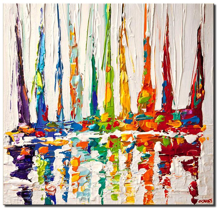 canvas print of multicolored sail boats painting modern palette knife