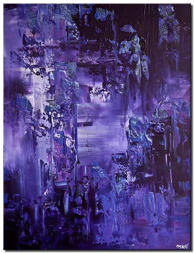 canvas print of purple textured abstract painting