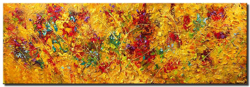 canvas print of contemporary floral abstract painting modern palette knife