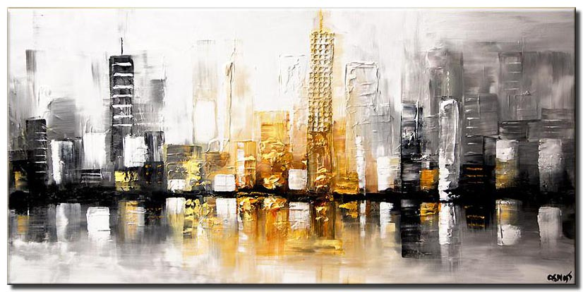 canvas print of textured modern city painting