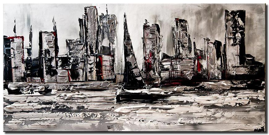 canvas print of city skyline boat abstract painting white black