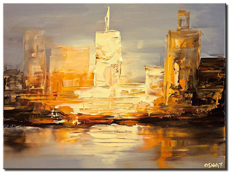 canvas print of small city abstract painting_P1