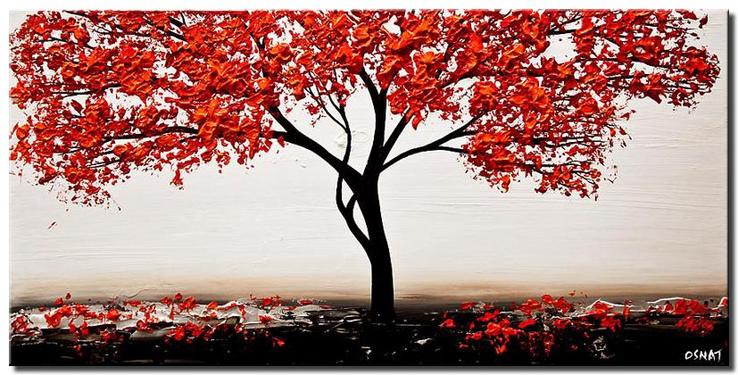 canvas print of red white red blossom tree painting modern palette knife
