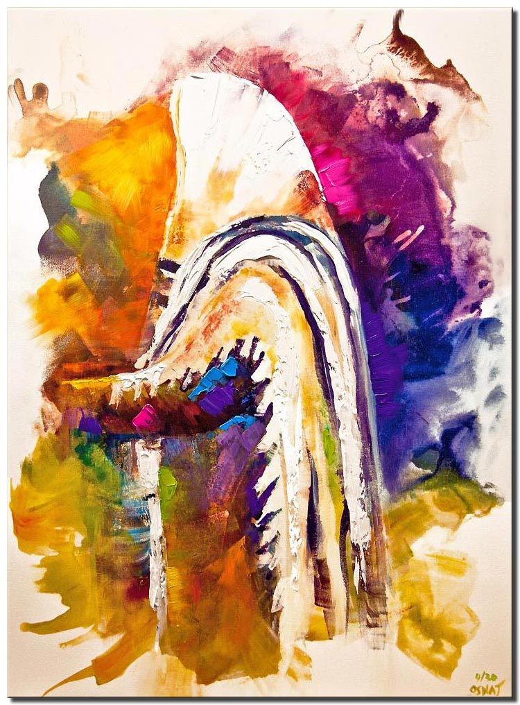 canvas print of colorful rabbi painting religious art