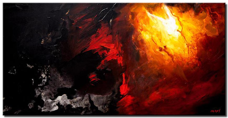 canvas print of black red abstract art painting