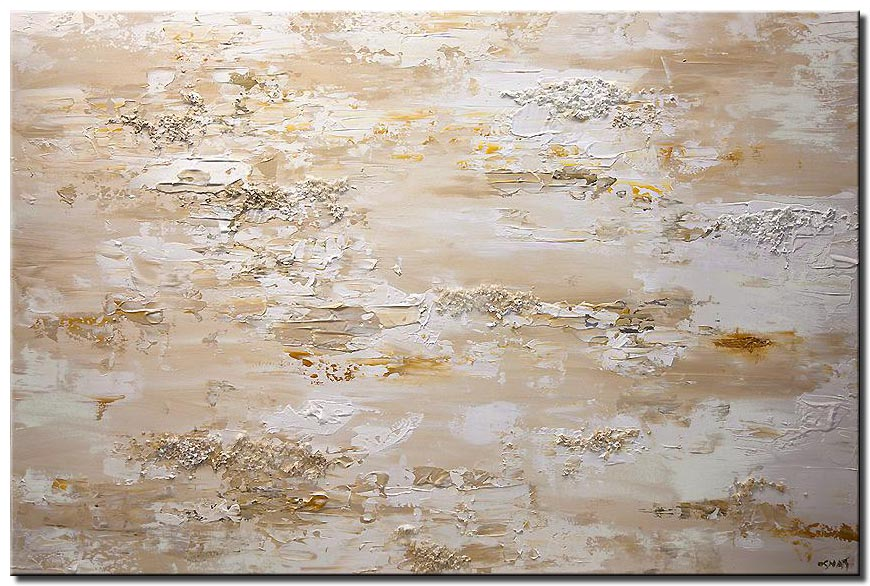 canvas print of white cream textured abstract art