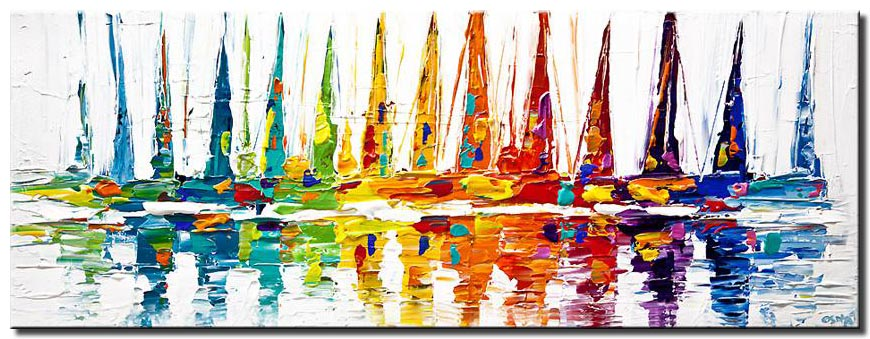 canvas print of colorful sailboats abstract painting