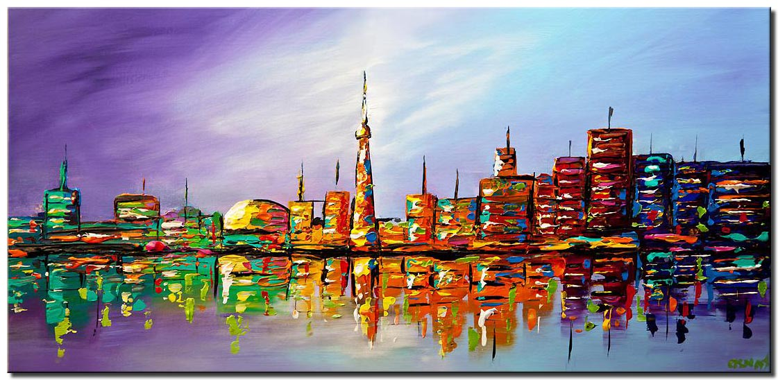 canvas print of modern Toronto skyline city abstract art
