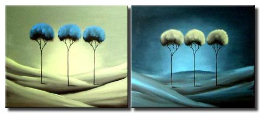 trees on hills painting