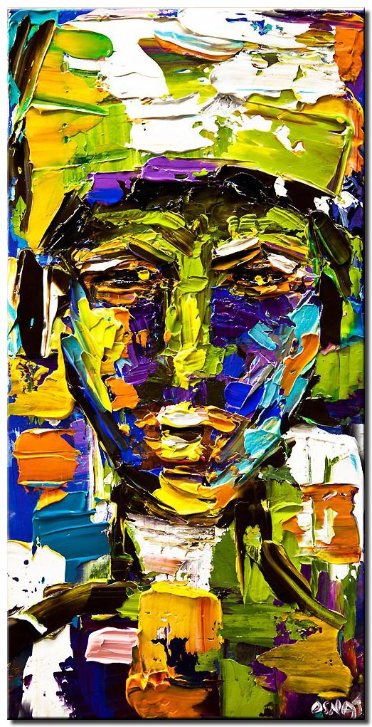 canvas print of colorful protrait painting modern acrylic texture