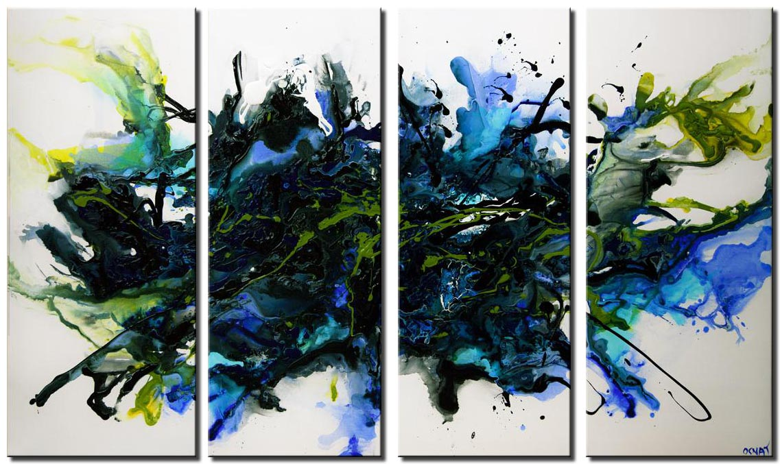 canvas print of blue abstract art home decor wall hanging