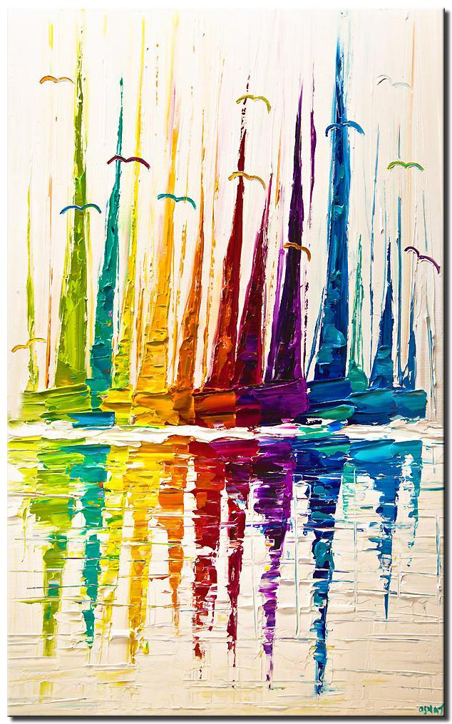 canvas print of abstract sail boats painting colorful modern palette knife textured painting