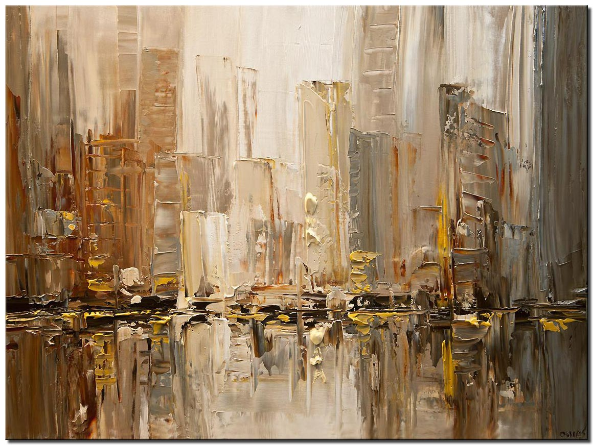 canvas print of original contemporary city abstract modern palette knife painting