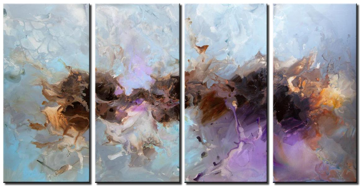 gray blue lavender abstract painting