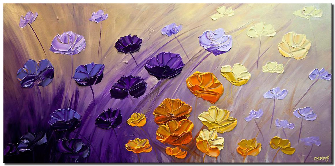 purple flowers painting original textured contemporary modern palette knife abstract floral