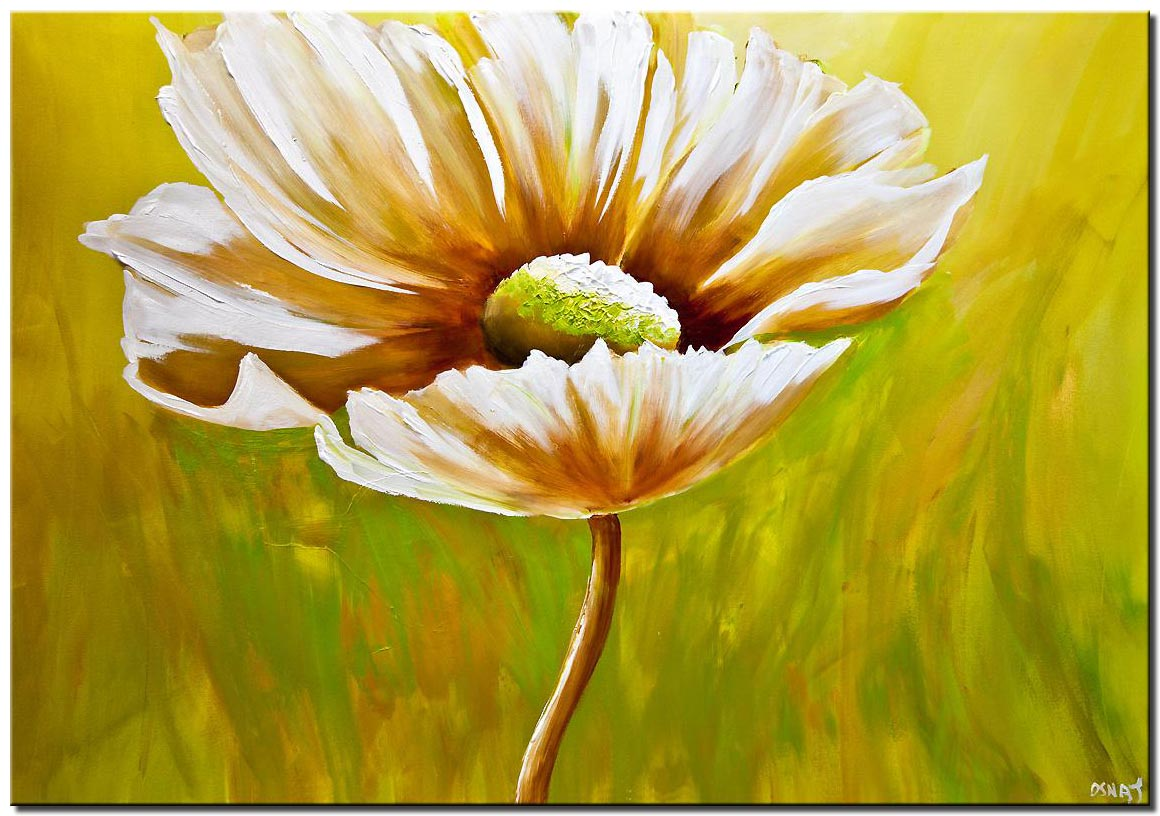 Abstract Daisy flower painting green